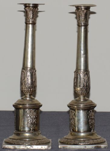 Antique Poland Pair of silver candlesticks (19th century)