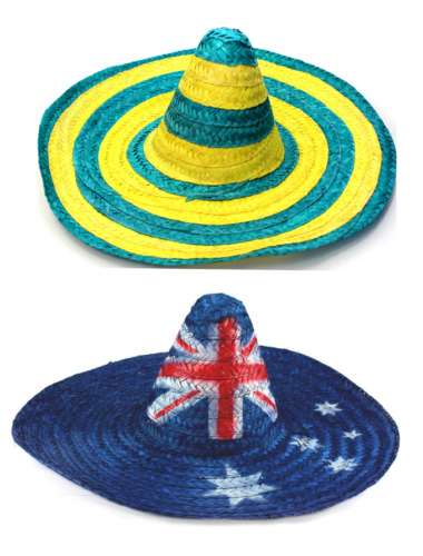 Adults Australian Day Party Green/&Yellow Mexican Straw Hat Aussie Summer Hat