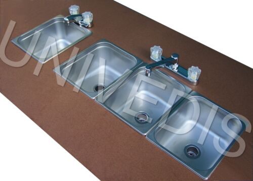 CONCESSION  SINK STAND three 3 COMPARTMENT W/ HAND  <br/> Faucets included  ATTACHED EASY TO INSTALL TRIPLE SINK