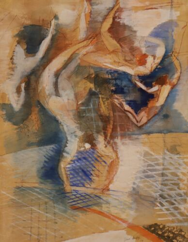 Jean Dufy, Les Acrobates, Mixed Media, 1924, Rare French Artist, Trapeze Artists