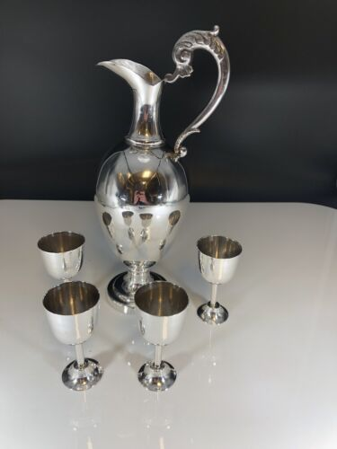 Maciel Sterling Silver Pitcher and 4 Mexico sterling silver shot glasses Maciel