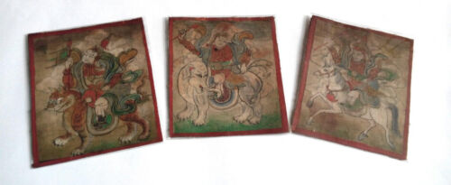 19th Century a set of 3 small Mongolian thangkas of armoured deities