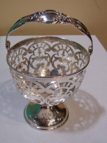 Tiffany & Co Sterling Silver Pierced Open Work Footed Handle Candy Dish / Basket