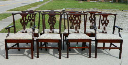 Set of 8 Straight Leg Chippendale Dining Chairs~~2 Arm~~6 Side``Turn of Century