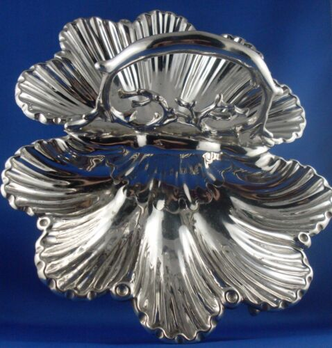 RARE Antique 1800's MARTIN HALL & CO Sheffield Silver CLAM SHELL SERVING TRAY