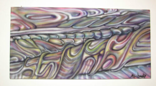 """Psychedelic Art Abstract Traffic Original Painting on Lycra 11.8"""" * 23.1"""""""