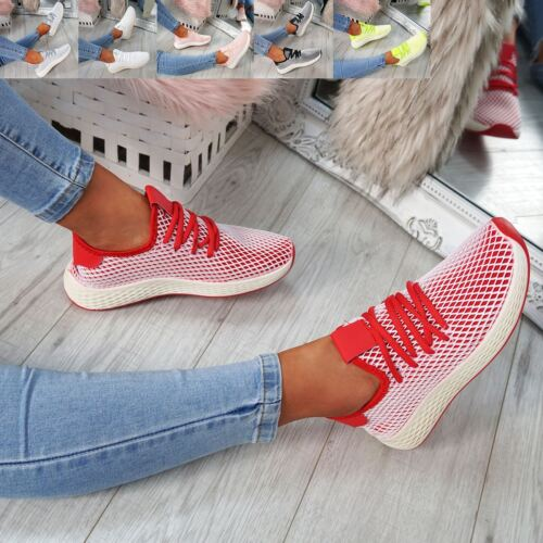 WOMENS LADIES LACE UP RUNNING TRAINERS GYM SNEAKERS FASHION PLIMSOLL SHOES SIZE