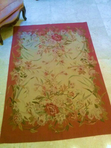 """Handmade Tapestry Weave Aubusson """"7001 Provincial"""" (Not Needle Point) 5x7"""