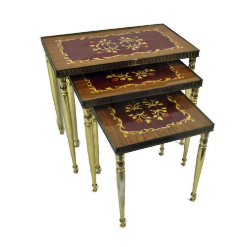 set of 3 Vintage Nesting Stacking Coffee Side Tables Brass Marquetry