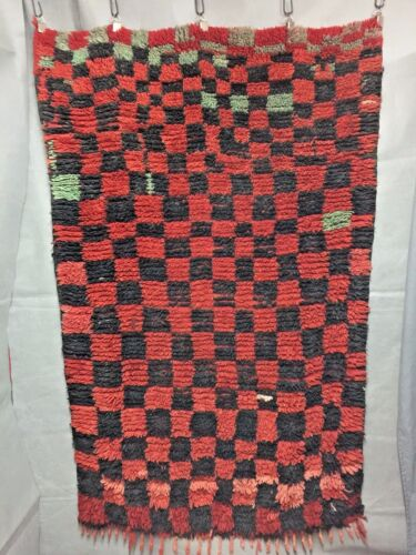 VINTAGE MOROCCAN 3 X 5 RED BLACK TURQUOISE CHECKER RUG VERY GOOD CONDITION