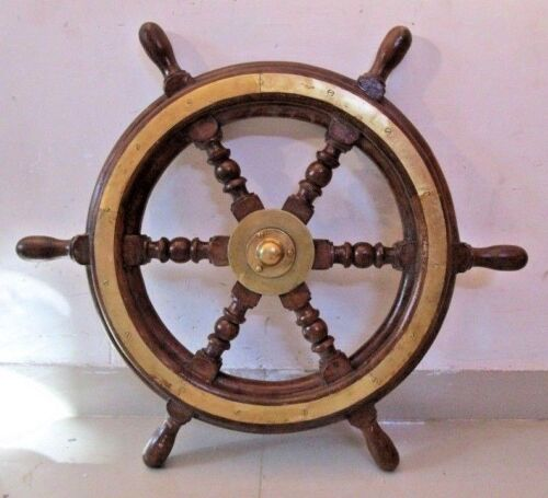 Vintage Style ship's STEERING - HELM - Wooden & Brass - 2 Feet - LARGE (2477)