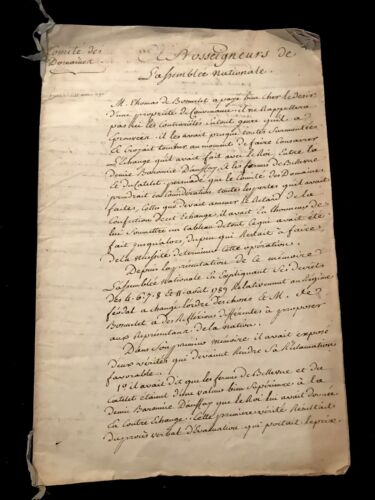 NATIONAL ASSEMBLY 1790 Signed and Handwritten Document
