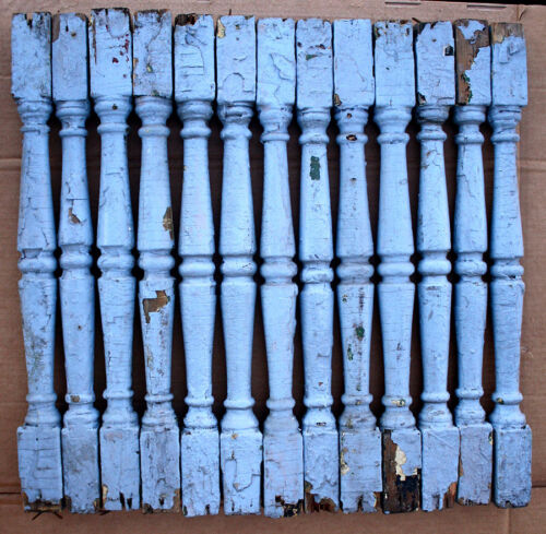 """13 Antique Vintage 24"""" Wood Wooden Staircase Stair Rail Spindles Posts Balusters"""