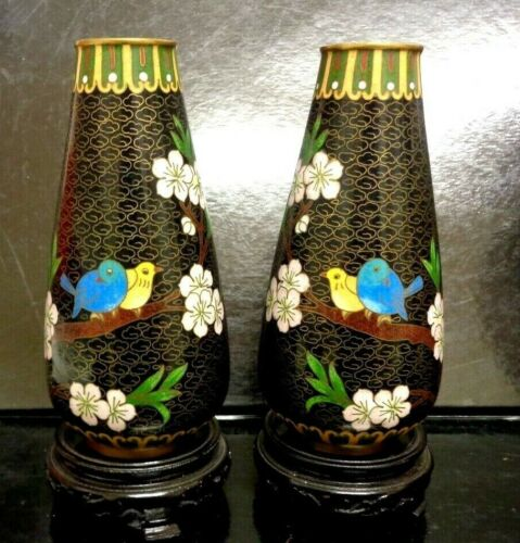 """Stunning Original Chinese Cloisonne 7"""" Inches H.Vases Pair Blossoms and Birds"""