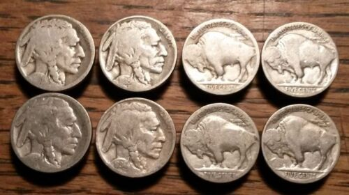 Vintage Buffalo Nickel Button Covers Old Authentic Indian Head 5 Cent *Lot of 8*