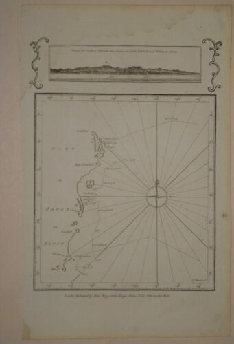 1790 Genuine Antique map Japan, exploration data, View of coast. by J. Cook