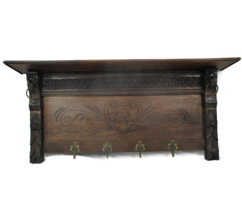 Gorgeous Hand Carved Wood Coat Hat Kitchen Hallway Rack  Ornate Lion Heads 40""