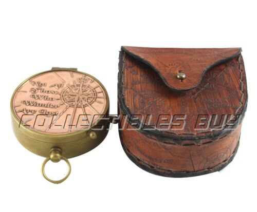 "Copper Compass with Leather Case Vintage ""Not All Those"" Tolkien Quotes Compass"