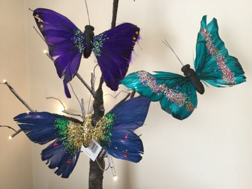 GISELA GRAHAM EASTER GLITTERED ACRYLIC CLIP ON BUTTERFLY DECORATION X 6