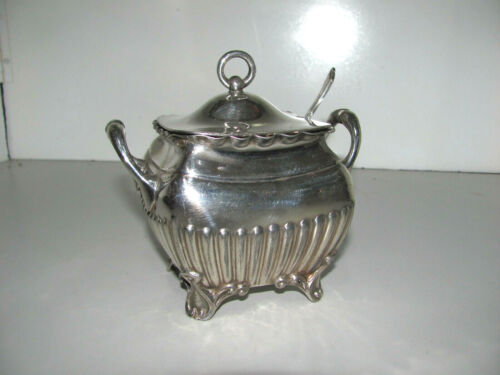 Antique Edwardian Philip Ashderry & Sons Sugar Bowl & Spoon