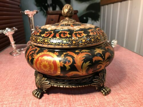 Antique Chinoiserie Style Crackle Glazed Ceramic Lidded Bowl Brass Fittings