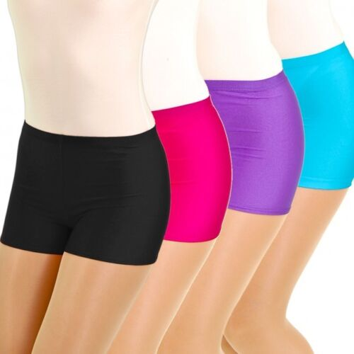 Ladies Girls Neon NYLON  Shorts Hot Pants Dance Party Casual Club Gym UK MADE