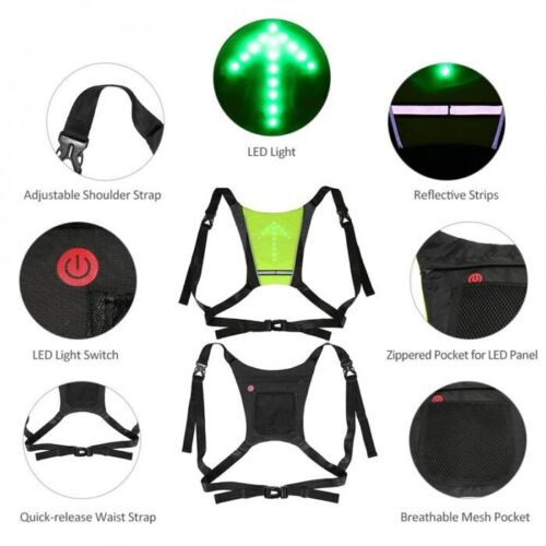 Bicycle Cycling Wireless LED Light Safety Turn Signal Vest for Night Riding