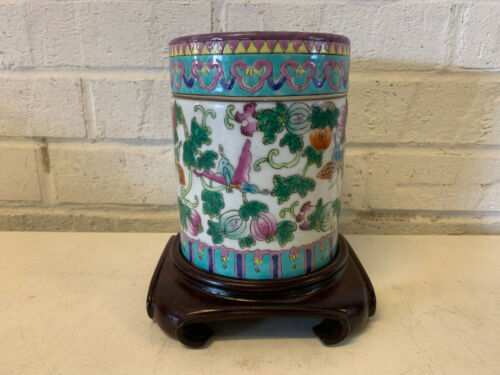 Antique Chinese Porcelain Covered Jar w/ Insect Floral Fruit Dec. Tongzhi Mark