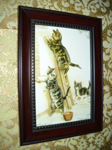3 CATS PASTE UP SIGN 4 X 6 brown framed animal picture Victorian style art print
