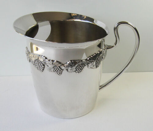 Vintage Carrington Silverplate Water Jug/Pitcher With Ice Stopper, Grape Vine