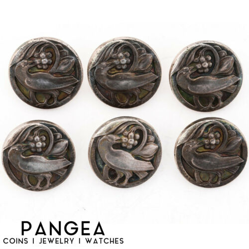Set of 6 Antique Estate Sterling Silver Georg Jensen Iconic Bird Buttons #43