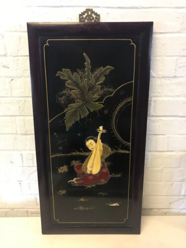 Antique Chinese Carved & Painted Wood Panel Woman Playing Instrument Decoration