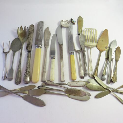 Vintage Bulk Lot of 31 Pcs Worn Silverplate Assorted Cutlery, Arts Crafts Use