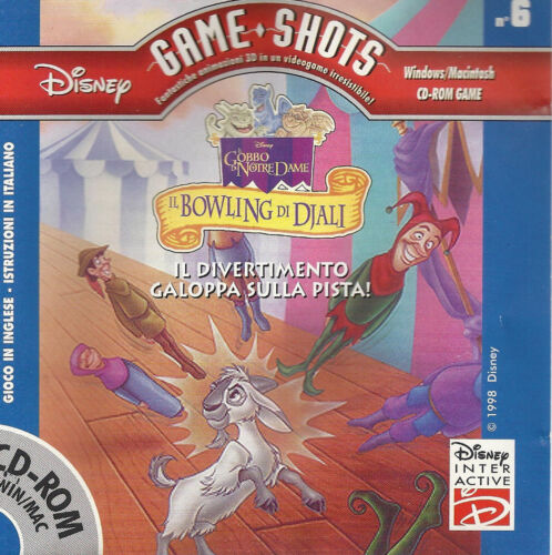 DISNEY GAME SHOTS GOBBO NOTRE DAME IL BOWLING DI DJALI Italian CD ROM PC Win/Mac