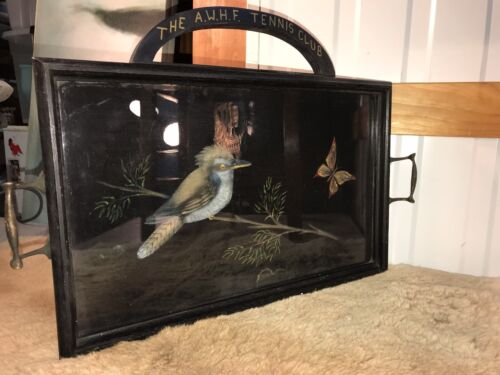 Antique Oak Australian Art Nouveau Display Hanging Tray Kingfisher Motif