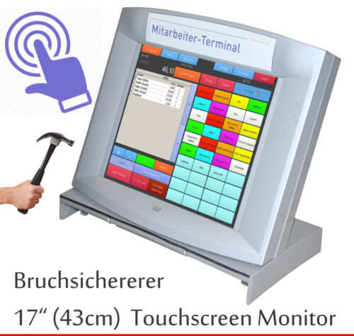 """43cm 17 """" TFT Bankautomat Monitor 7mm Protective Glass Touch Screen Top Also At"""