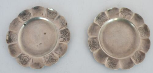 Hand engraved Sanborns Mexico Vintage Sterling Silver small plates lot of 2