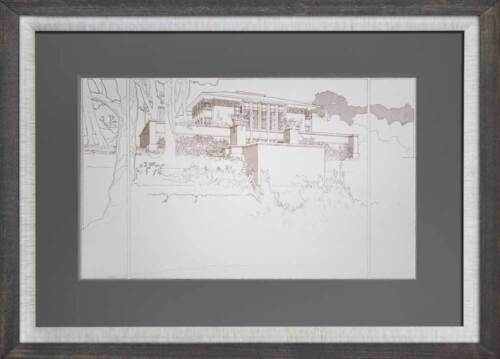 Frank Lloyd WRIGHT Lithograph #'ed LIMITED  ~ Thomas Hardy, WI House Perspective