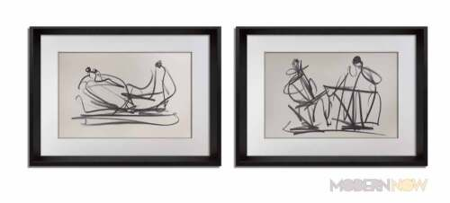 Two Henry MOORE Lithograph Limited EDITION 107/150 +Cat. Ref. c41 + 2 pc. +FRAME