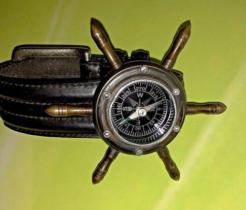 Wrist Ship Wheel Compass With Leather Strap Watch Brass Military Hiking Camping