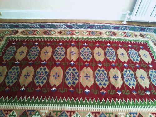 """77""""x130"""" Antique Hand Woven Wool Cotton Reversible Kilim Flat Weave Area Rug"""