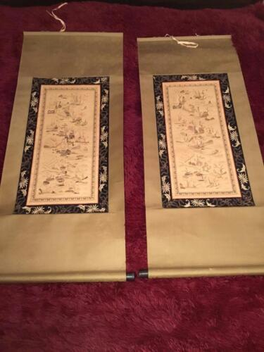 2 ANTIQUE EARLY 20th c CHINESE EMBROIDERED SILK PANELS/ SCROLLS EMBROIDERY!
