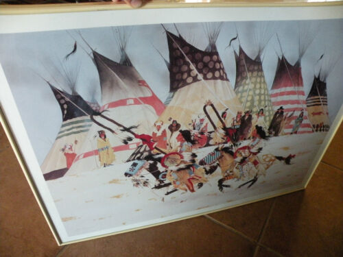 Jerry Ingram print, lithograph, pueblo life, limited edition artist proof