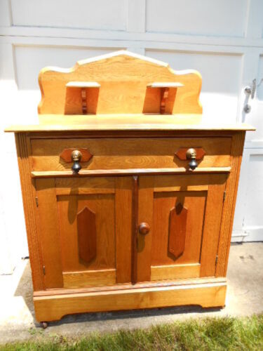 Beautiful Antique Victorian Walnut Washstand w/Candle Stands