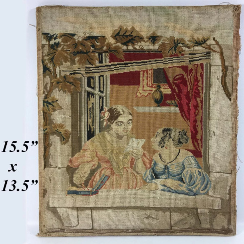 Antique Victorian Needlepoint Embroidery Sampler Panel, Girls w Letter, No Frame