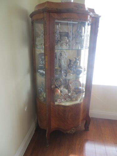 Antique FRENCH Louis XVI Like Gilt Bronze Mounted CURIO VITRINE China Cabinet