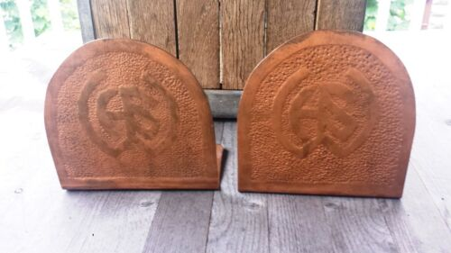 Antique Arts and Crafts Hammered Copper Bookends - Adirondacks