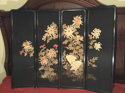 ANTIQUE EARLY 20TH MEIJI JAPANESE EMBROIDERED PAINTED SCREEN EMBROIDERY CHINESE!