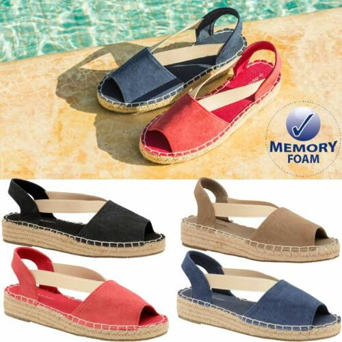 8ab08c371ea2 Ladies Low Wedge Heel Casual Summer Espadrille Strappy Beach Sandals Shoes  Size
