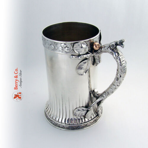 Large Tankard Sterling Silver Mixed Metals Apple Tree Bark Handle Gorham 1880